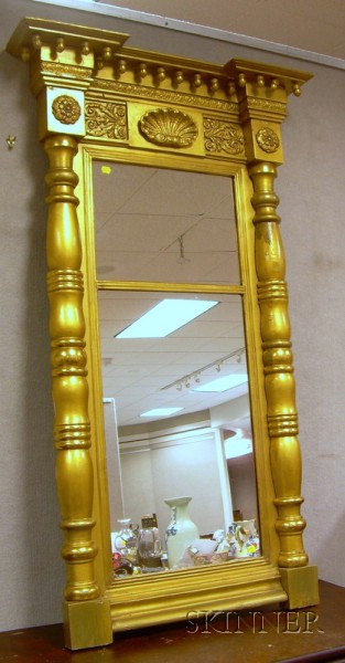 Gold-painted Federal Giltwood and Gesso Tabernacle Mirror