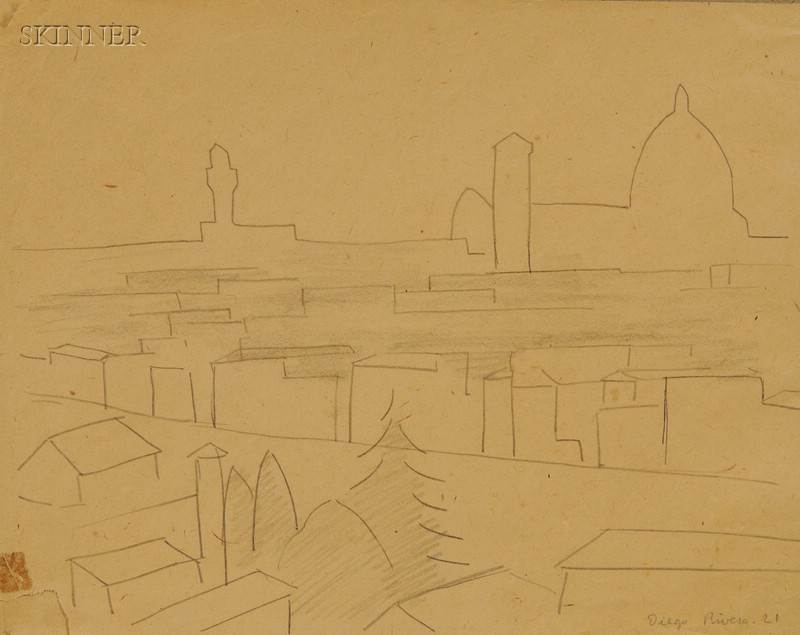 Diego Rivera (Mexican, 1886-1957)      Skyline, Florence, Italy