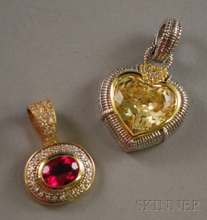 Two Gold, Gemstone, and Diamond Pendants