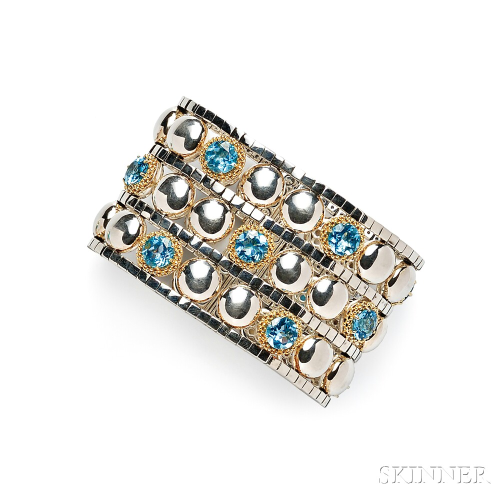 Sterling Silver and Blue Topaz Strap Bracelet, Lagos