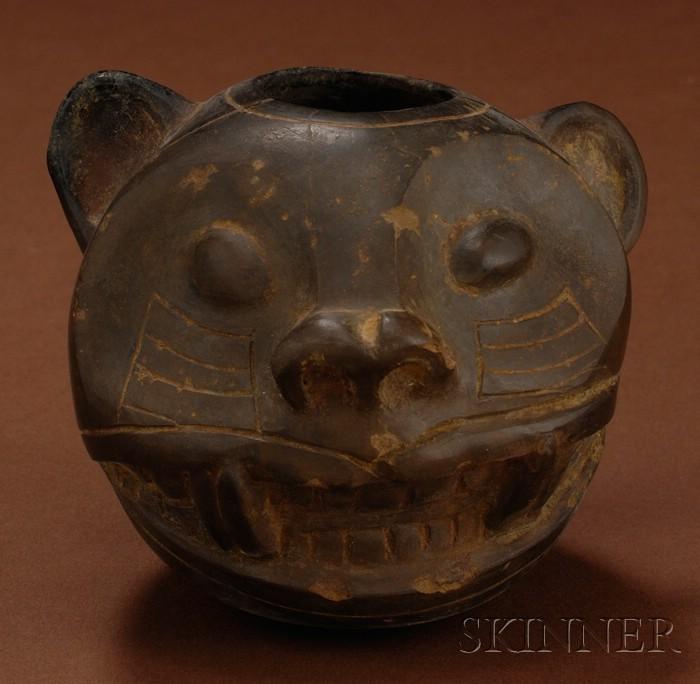 Pre-Columbian Jaguar Head Bowl
