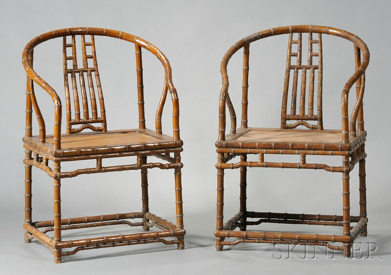 Pair of Bamboo Horse-back Chairs