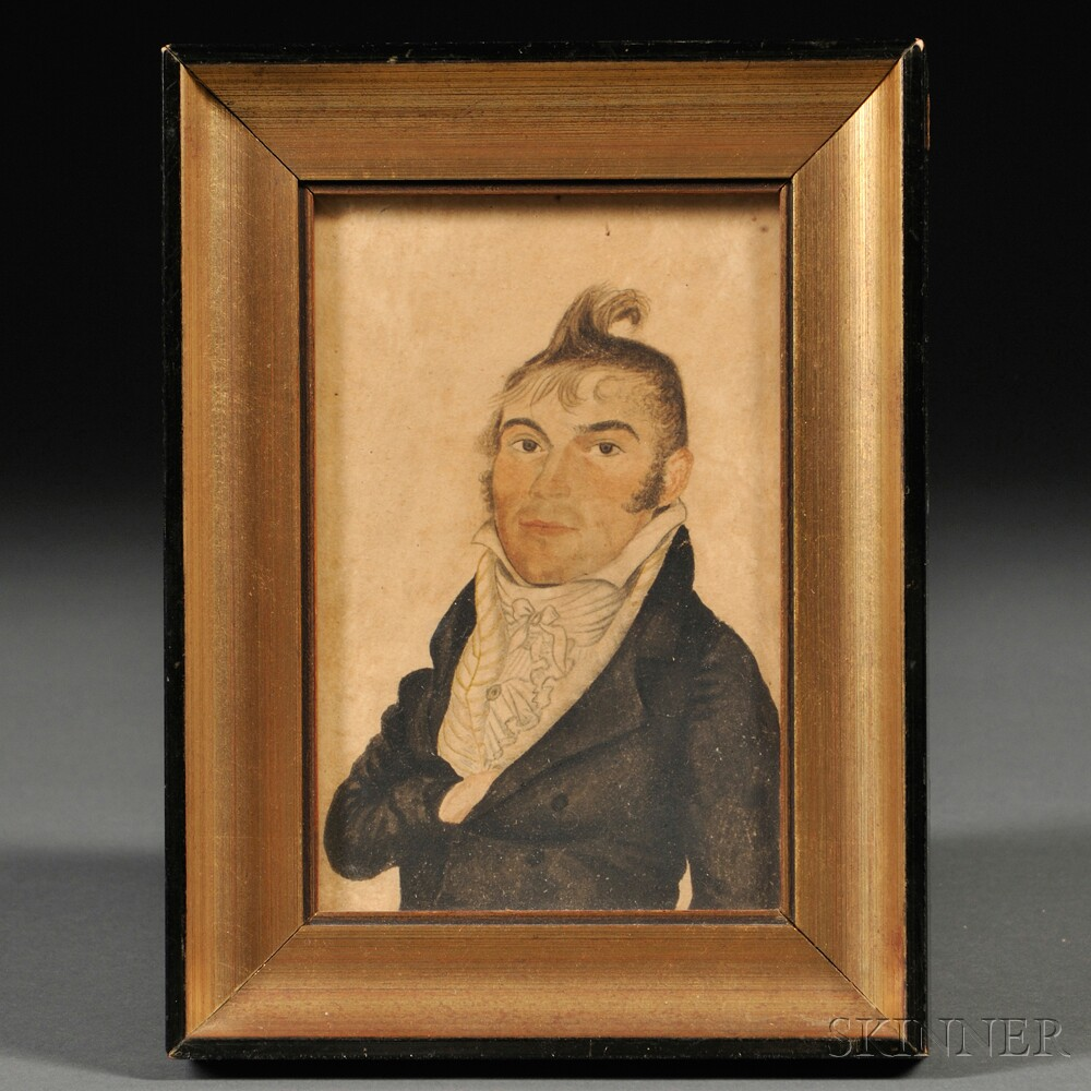 American School, 19th Century      Portrait Miniature of a Man with Upswept Hair.