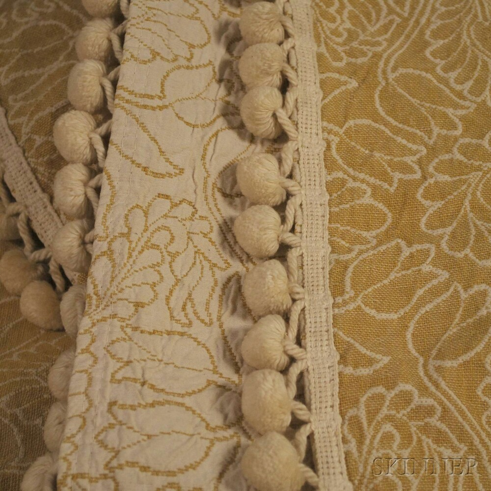Pair of Vintage Bates Brocade Cotton Twin Bedspreads with Ball Fringe.     Estimate $50-75