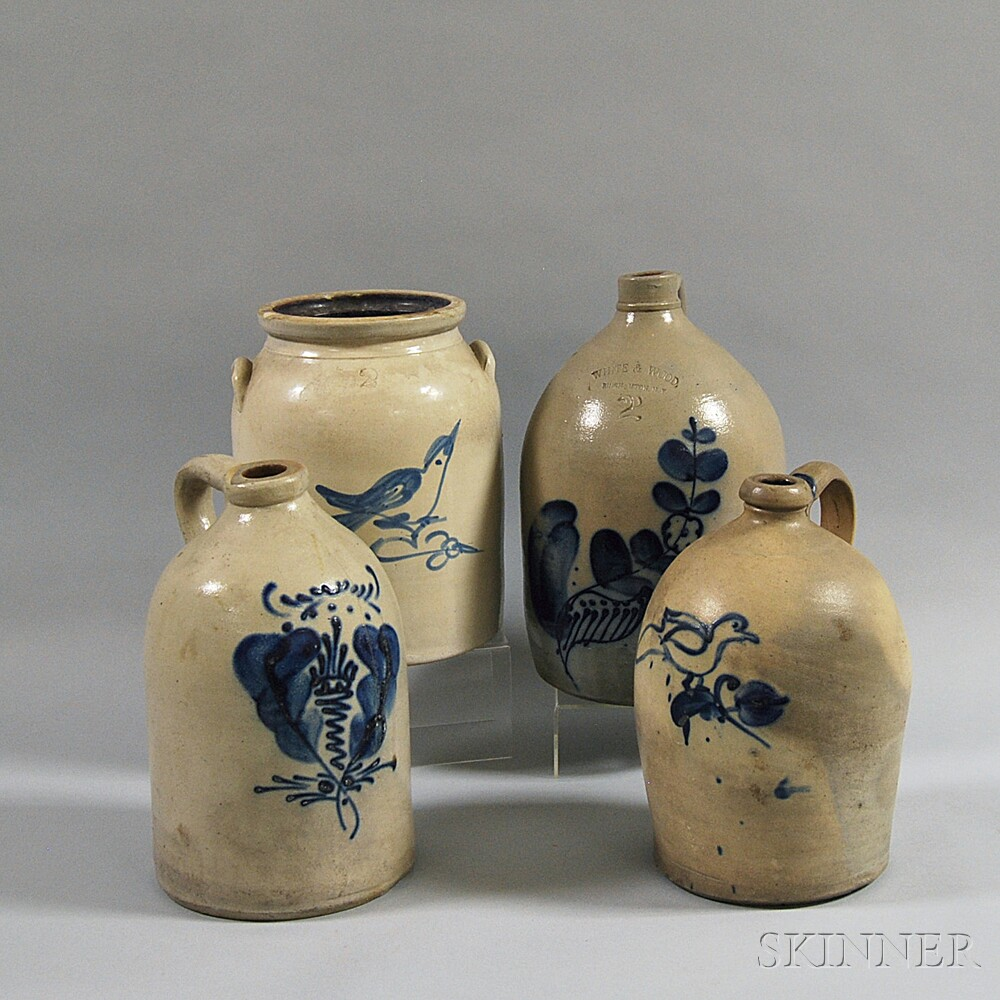 Four Pieces of Cobalt-decorated Stoneware