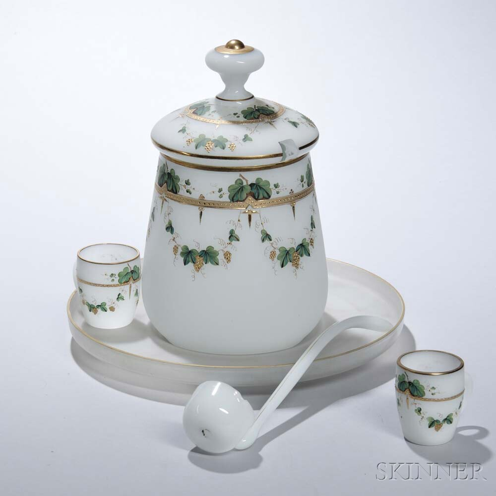 French Frosted Opaline Glass Punch Set