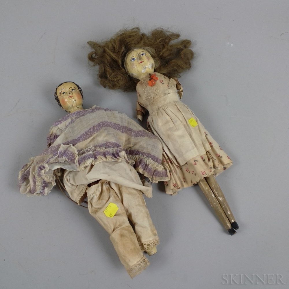 Two Painted Wooden and Felt Dolls.