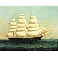 Chinese Export School, 19th Century  The Clipper Ship Pilgrim in Chinese Waters.
