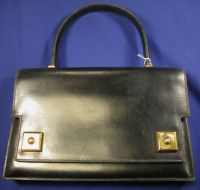 "Black Leather ""Piano"" Bag, Hermes"