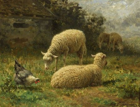 Jean Ferdinand Chaigneau (French, 1830-1906) Sheep in LandscapeJean...