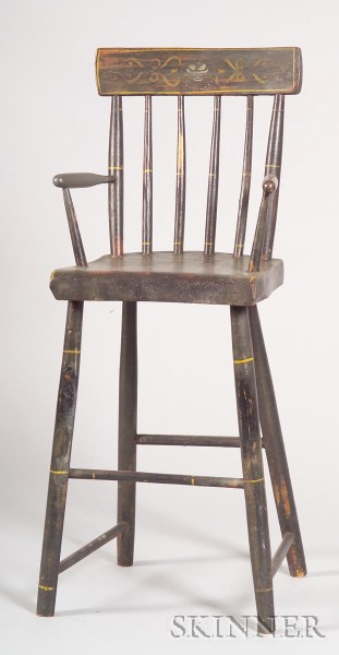 Child's Painted and Stencil-decorated Windsor High Chair
