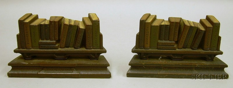 """Pair of Painted Cast Iron """"British Authors on Shakespeare's Shelf"""" Bookends"""