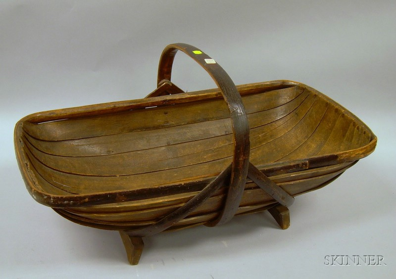 Rustic Twig and Lapped-Slat Flower Basket with Shoe Feet.