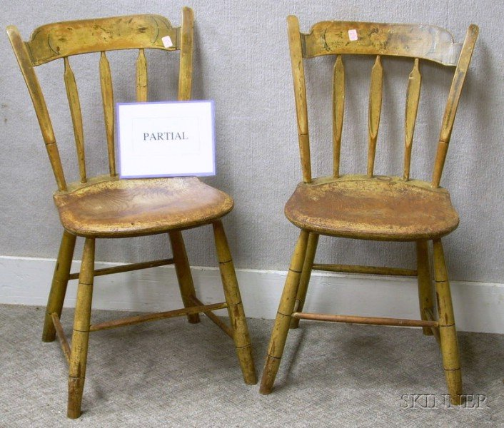 Set of Four Windsor Paint Decorated Thumb-back Arrow-back Side Chairs.