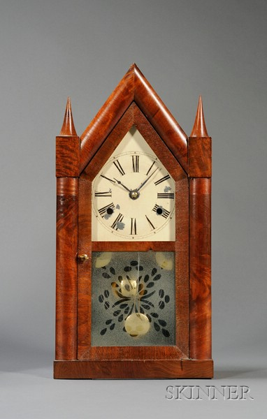 Mahogany Steeple Clock by Chauncey Jerome