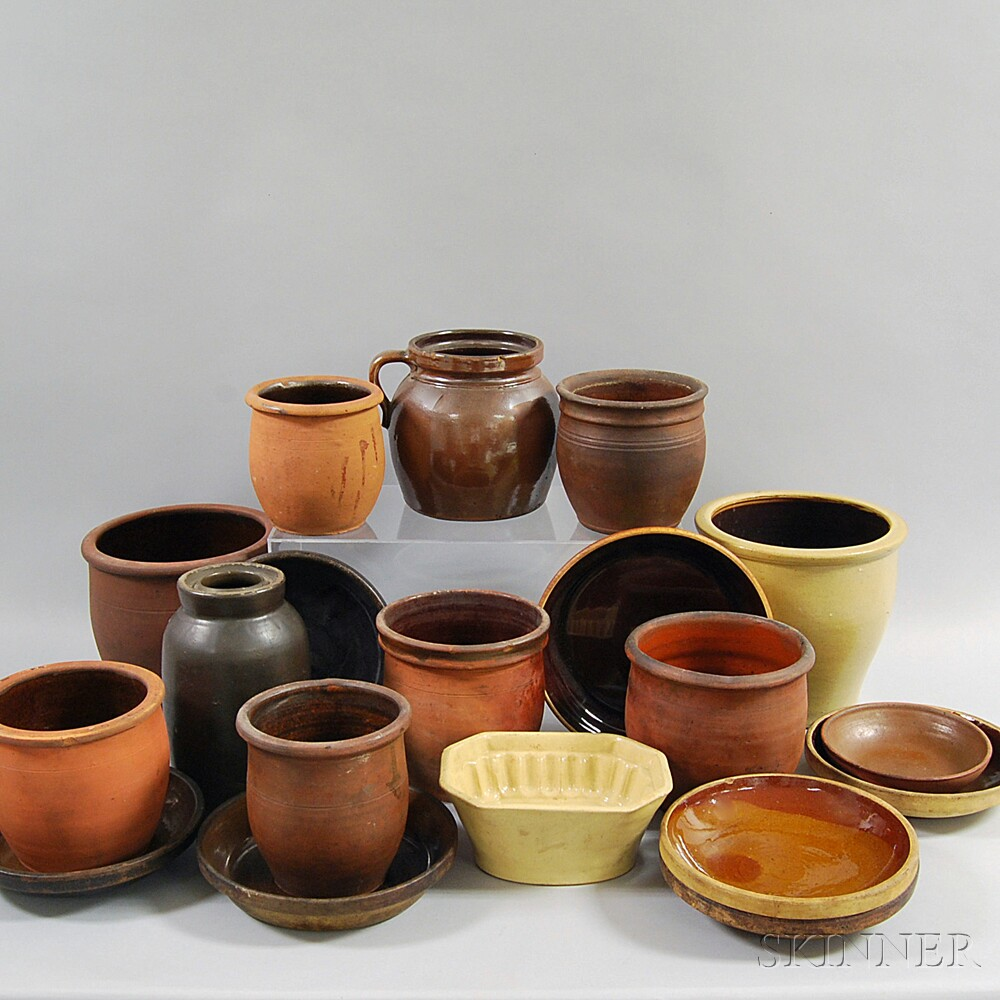 Nineteen Mostly Glazed Pottery Items