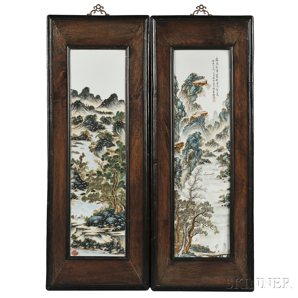 Pair of Framed Porcelain Plaques