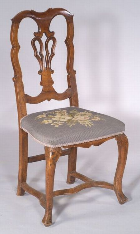 German Fruitwood Rococo Side Chair