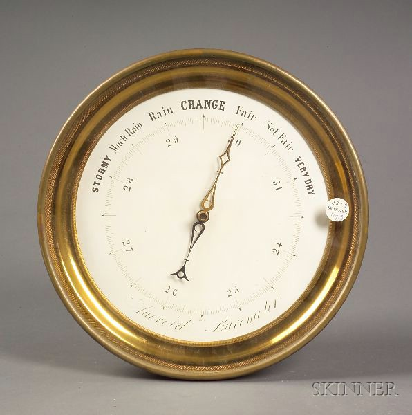 Brass Cased Aneroid Wall Barometer