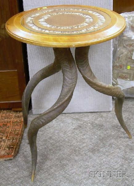 Quill and Fruitwood-top Antler Tripod-base Table.