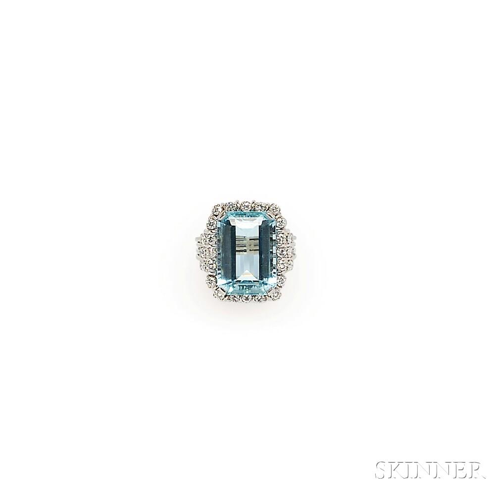 14kt White Gold, Aquamarine, and Diamond Ring