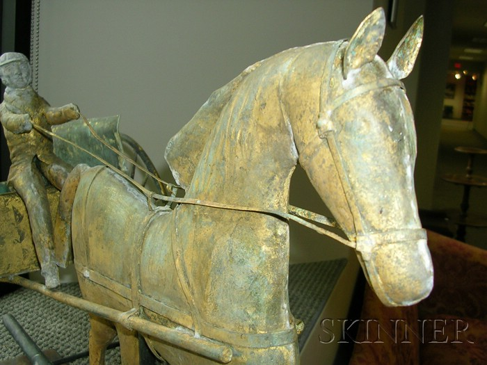 Gilt Copper Horse and Cart Weather Vane
