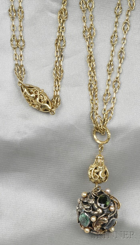 Arts & Crafts 18kt Gold Gem-set Ball Pendant