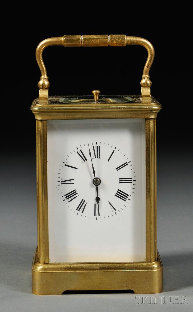 French Brass Regulator Carriage Clock