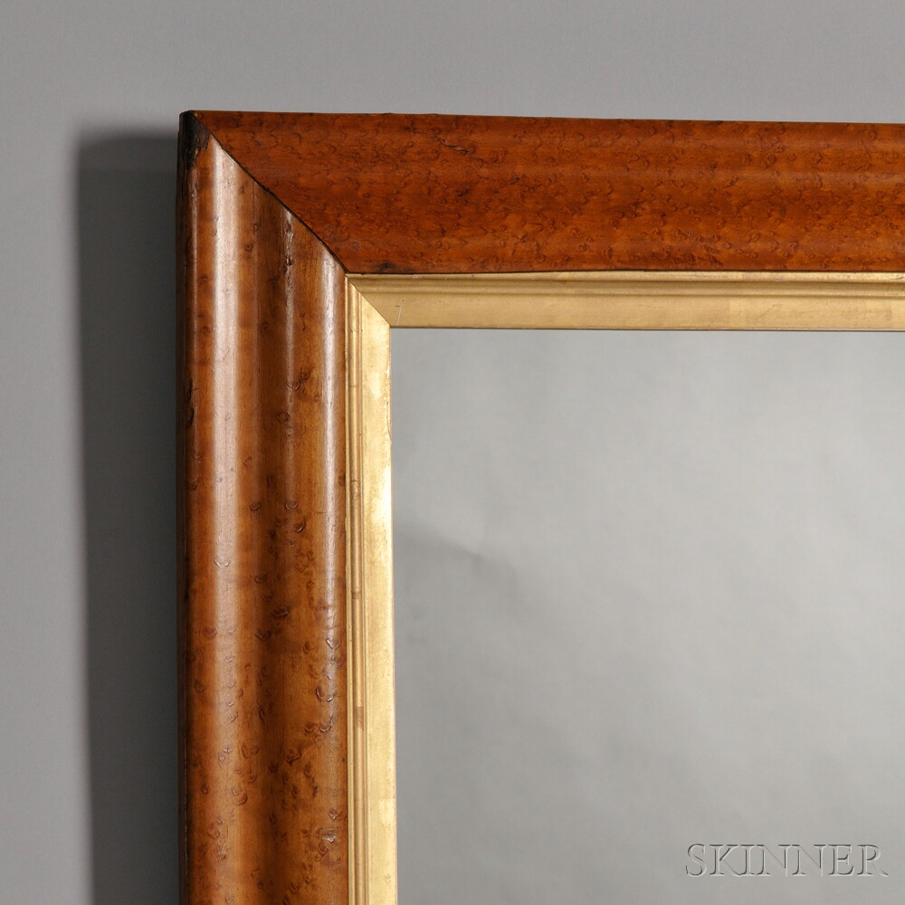 Large Bird's-eye Maple Veneer Framed Mirror