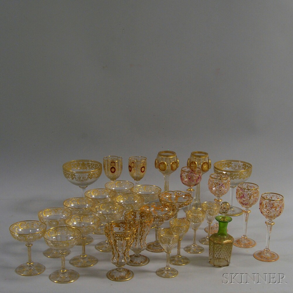 Approximately Twenty-nine Pieces of Mostly Gilt Glass Stemware