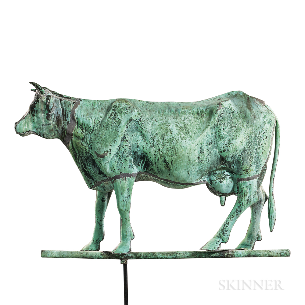Large Molded Copper Short-horned Jersey Cow Weathervane