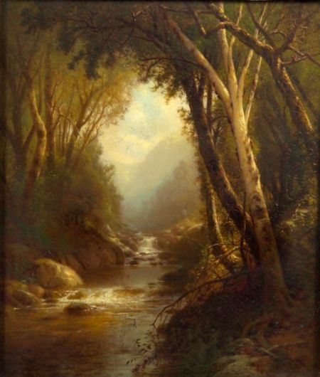 William M. Hart (American, 1823-1894)    River Cascades