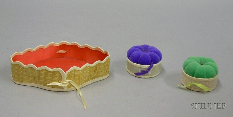 Shaker Basketry Sewing Tray and Two Pincushions.