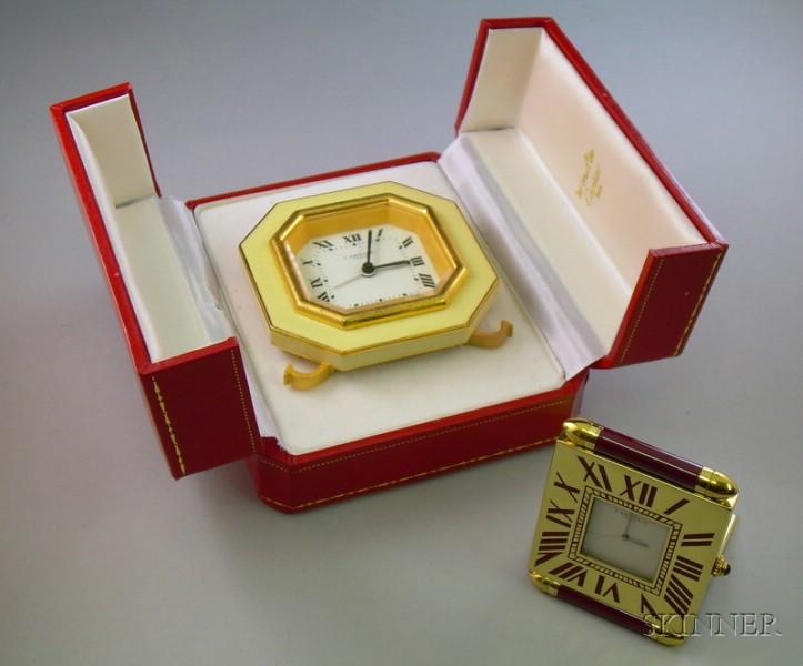 Two Enamel Clocks, Cartier