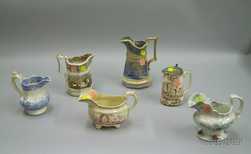 Six Assorted English Transfer Decorated Staffordshire Jugs.