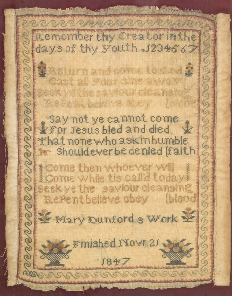 Framed 1847 Mary Dunford Needlework Sampler