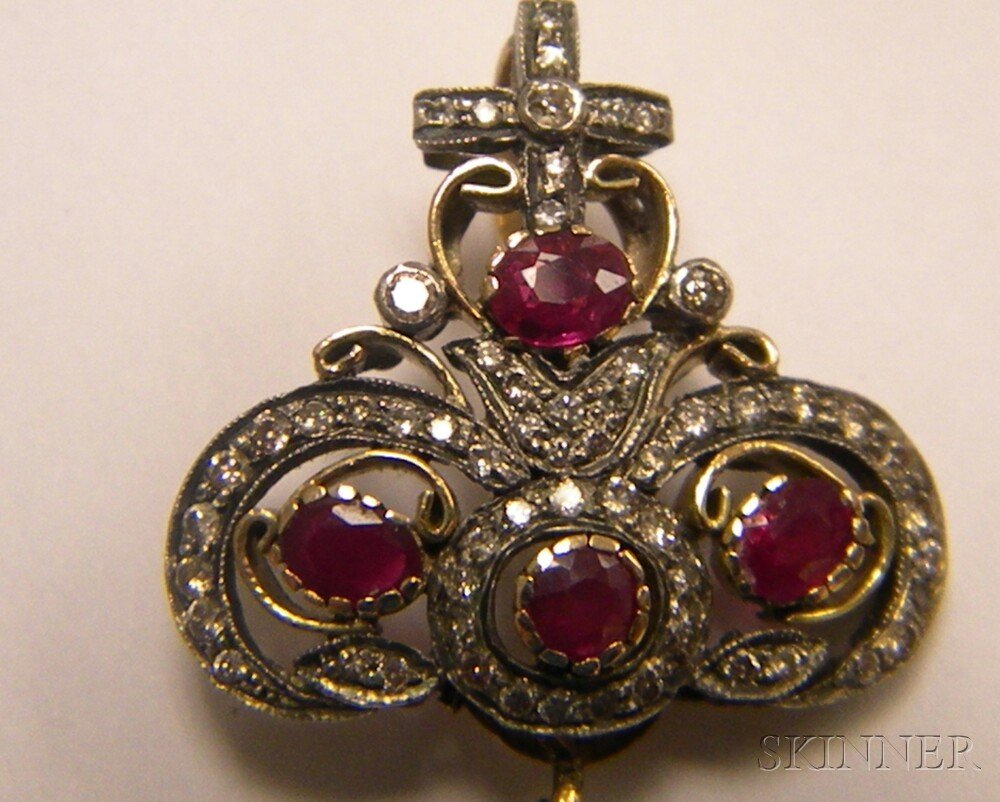 Indian 14kt Gold, Ruby, and Diamond Pendant