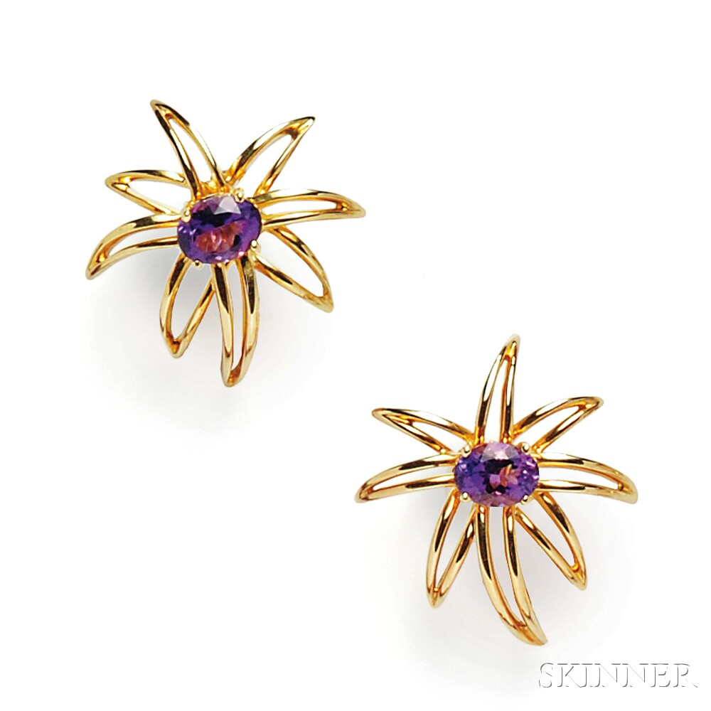 """18kt Gold and Amethyst """"Fireworks"""" Earclips, Tiffany & Co."""