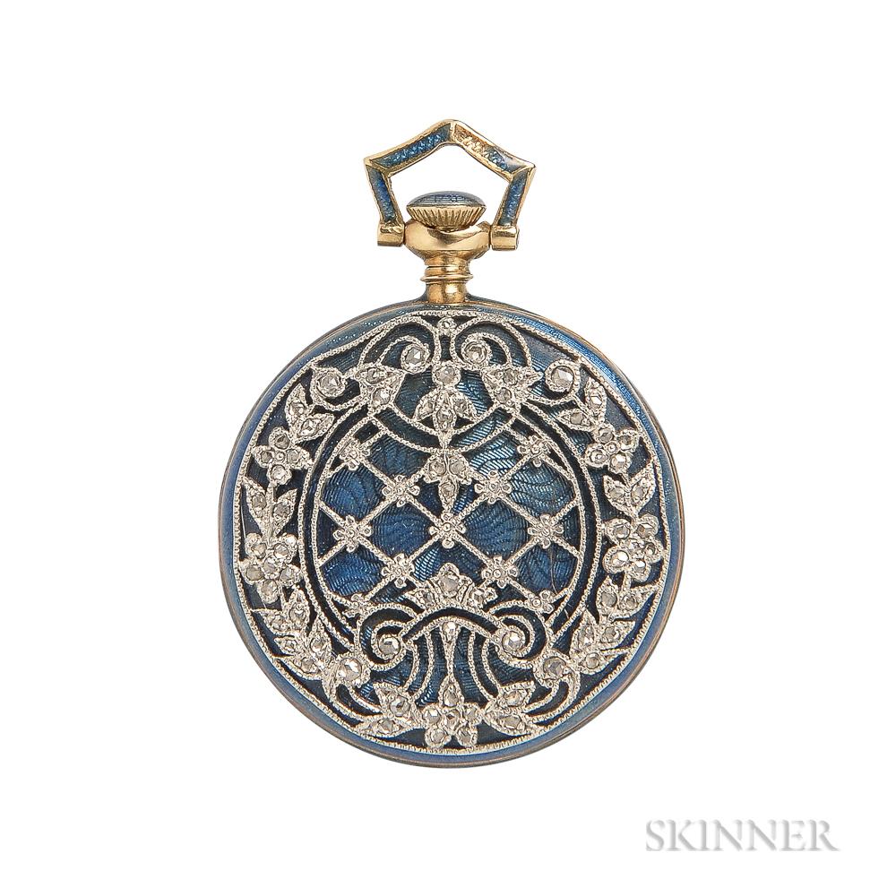 Edwardian 18kt Gold, Enamel, and Diamond Open-face Pendant Watch, Tiffany & Co.
