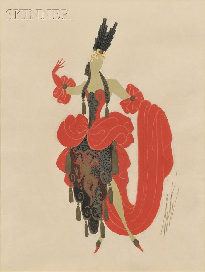 Romain de Tirtoff, called Erté (Russian, 1892-1990)      Costume Design: Dancer in Red and Black