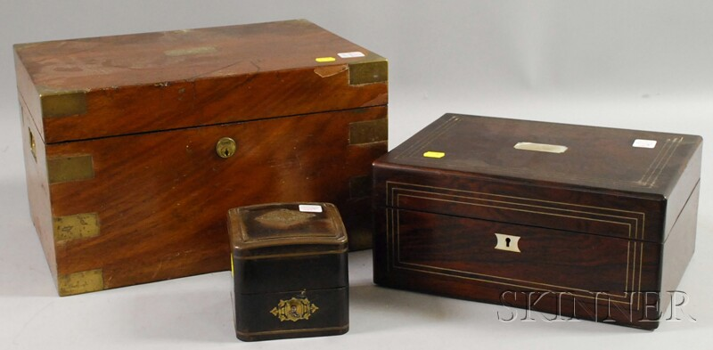 Three Assorted Inlaid Wooden Boxes