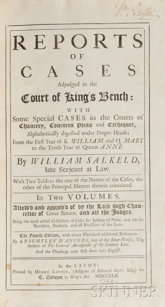Paterson, William (1745-1806) Signed Copy, Salkeld's Reports of Cases Adjudged in the Court of King's Bench