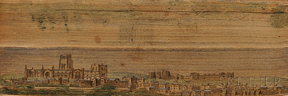 Fore-edge Paintings, British Subjects: Malmsbury, Wiltshire; Durham Cathedral, Hereford; and Marlborough, Suffolk,   Four Volumes.
