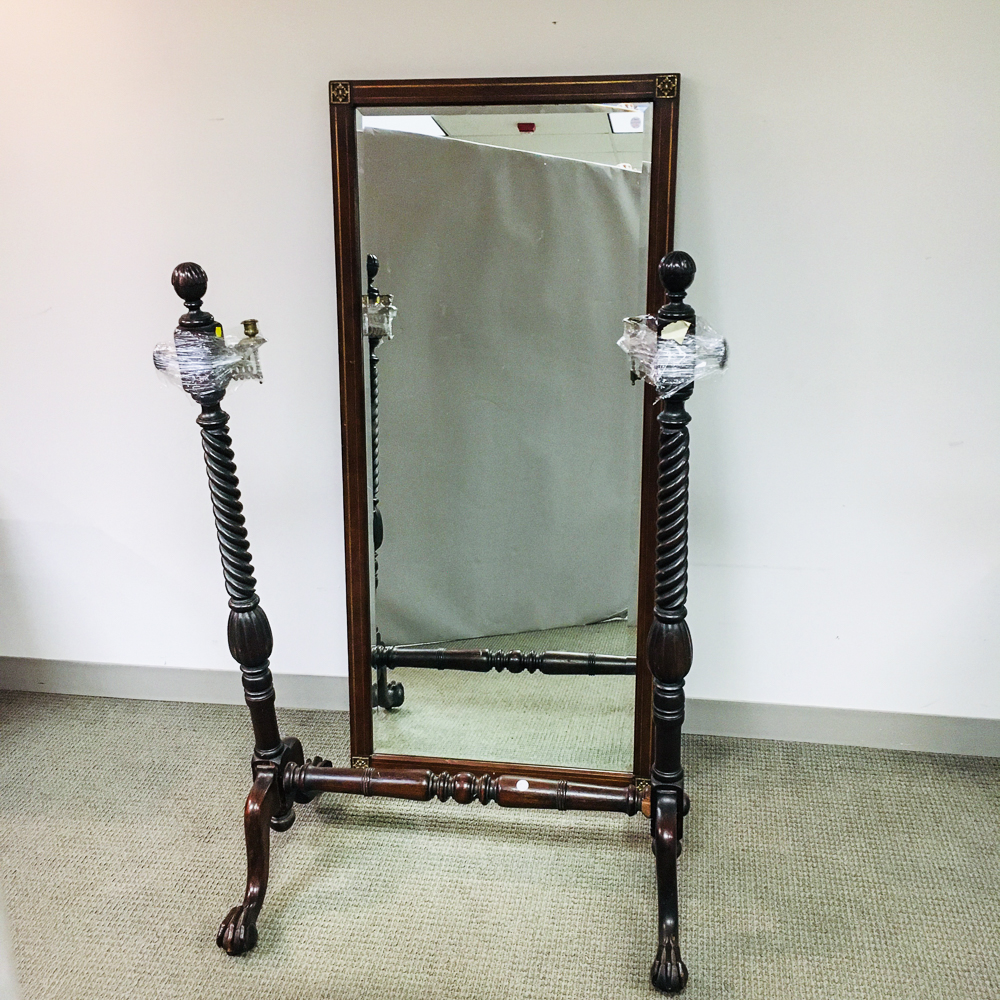 French Empire-style Inlaid Fruitwood Cheval Mirror