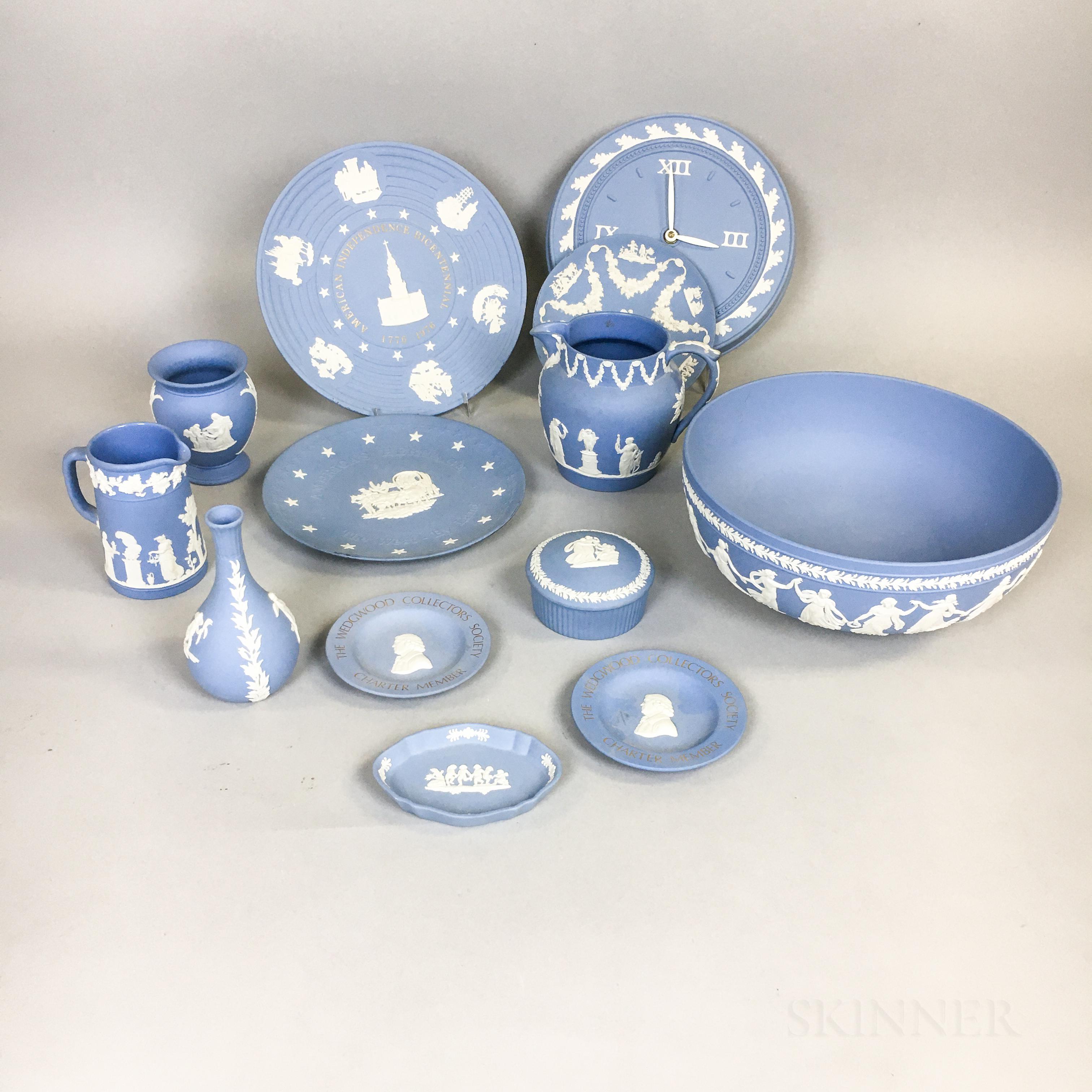 Thirteen Pieces of Modern Wedgwood Blue Jasper Tableware.     Estimate $20-200