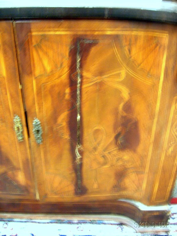 Small Continental Inlaid and Marquetry Decorated Lift-top Two-Door Cabinet