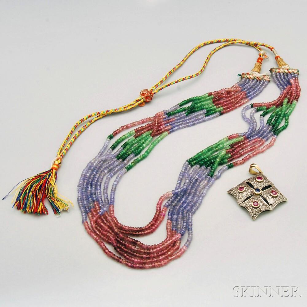 Two Gem-set Jewelry Items