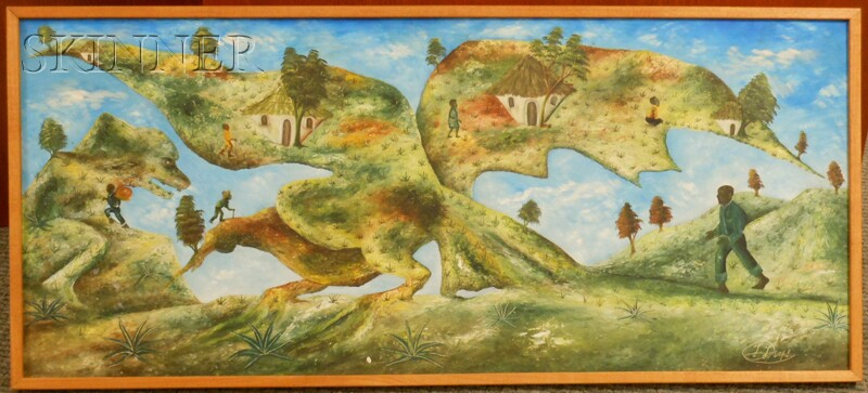 Jasmin Joseph (Haitian, b. 1923)      Village on the Dragon's Wings