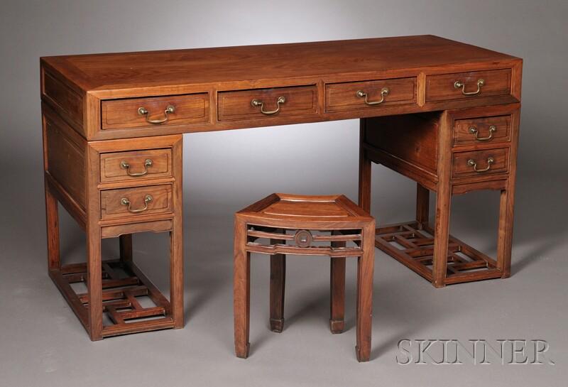 Huanghuali Partners Desk And Stool Sale Number 2613b