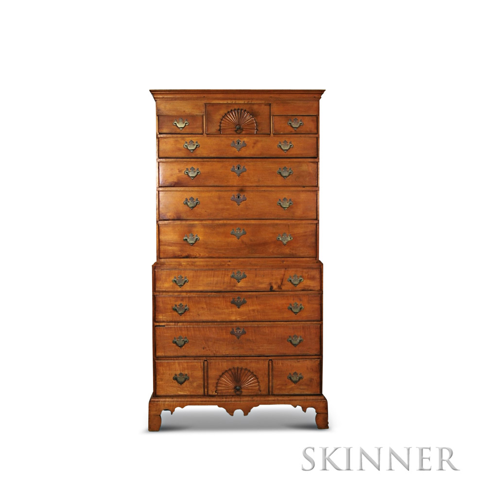 Chippendale carved maple chest on sale number
